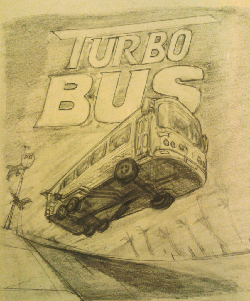 Image of cover concept art for Turbo Bus, (so far) fictional pc game.
