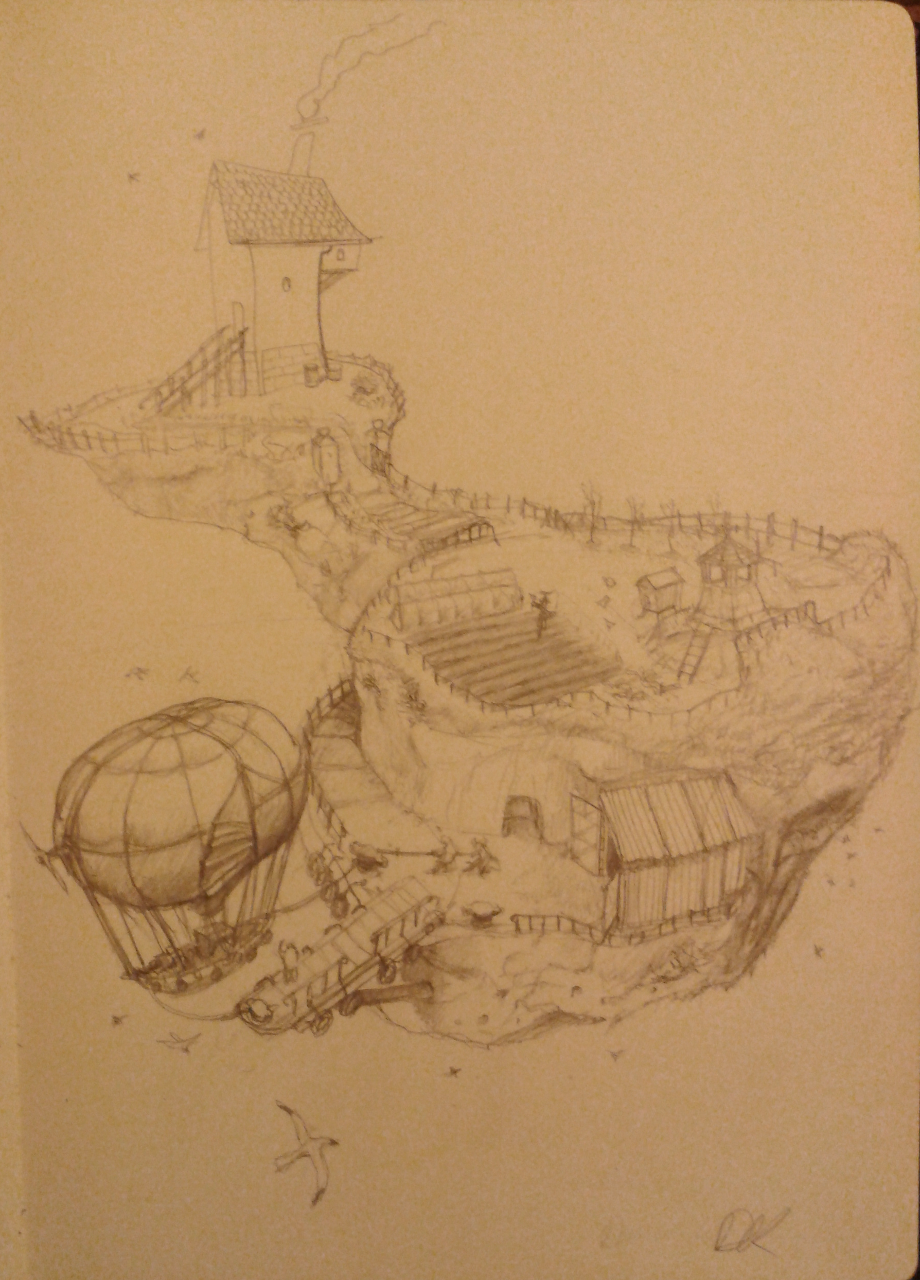 Drawing-a-day #4 Floating Island with Ship