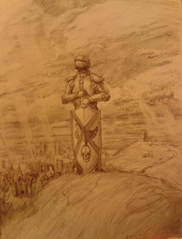 Drawing-a-day 7, Knight on a Hill