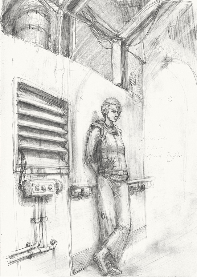 By Darren Kearney. A pencil sketched character design for a role playing game.