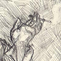 Thumbnail of Jek'la. A quick sketch of a character design in pencil. Artist: Darren Kearney