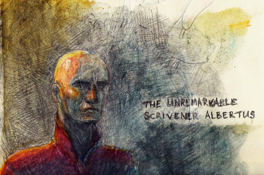 SAlbertus the Scrivener by Darren Kearney. A character sketch in pencil and watercolours.