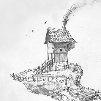 Thumbnail of Floating Island with Airship by Darren Kearney