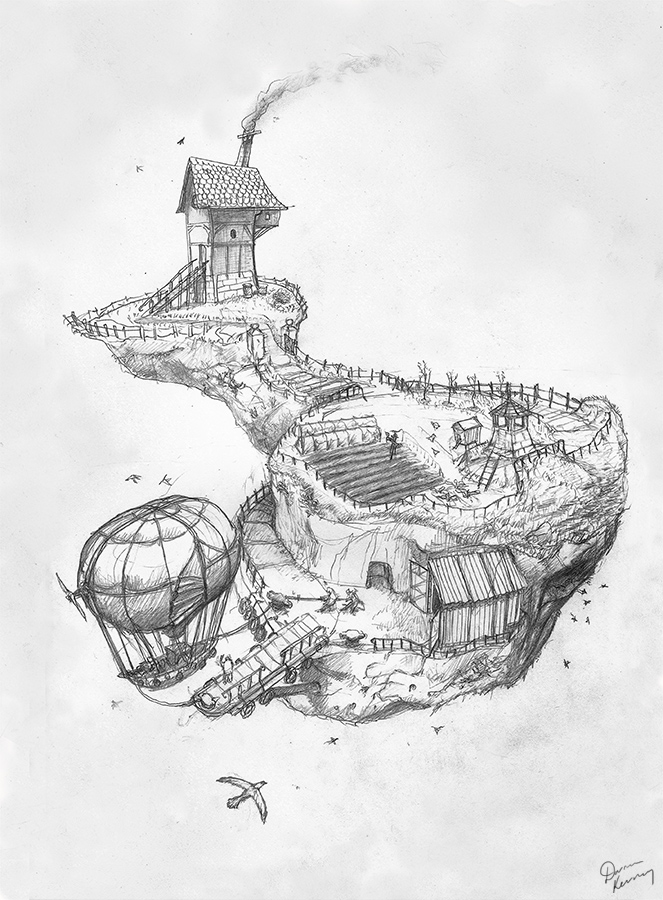 Illustration - Floating island with Airship by Darren Kearney