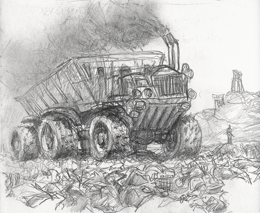 Dumptruck in a Landfill by Darren Kearney
