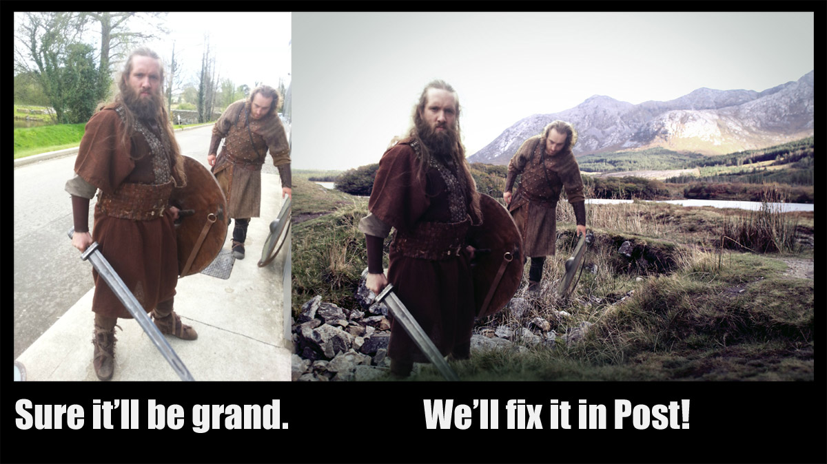 Photoshop of Photo of Viking Tv-Series Extras - from a street into Connemara.