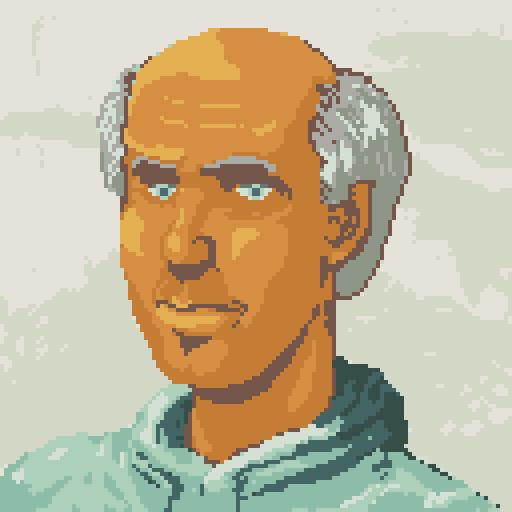 Gerald portrait,  pixel art, conspiracy game jam may 2015 by Darren Kearney
