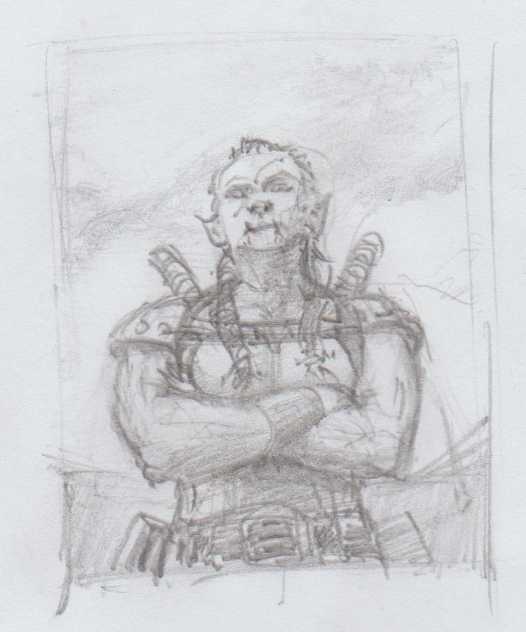 Naomi Bishop Portrait Sketch (as duel warhammer  half-orc)