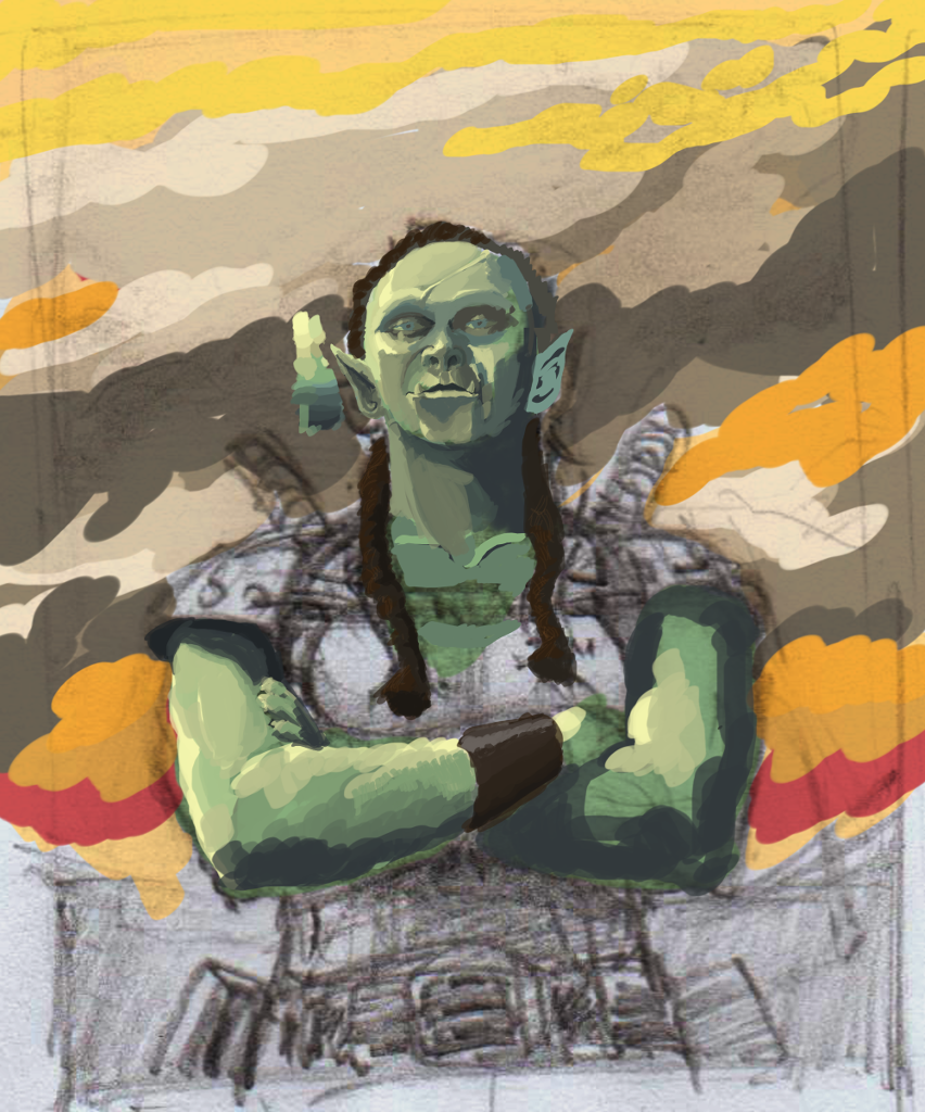 Naomi Bishop Portrait Unfinished Digital Painting (as duel warhammer  half-orc)