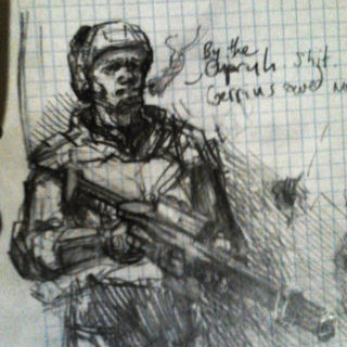 Thumbnail of Trooper Van, 40k Gaurdsman sketch by Darren Kearney