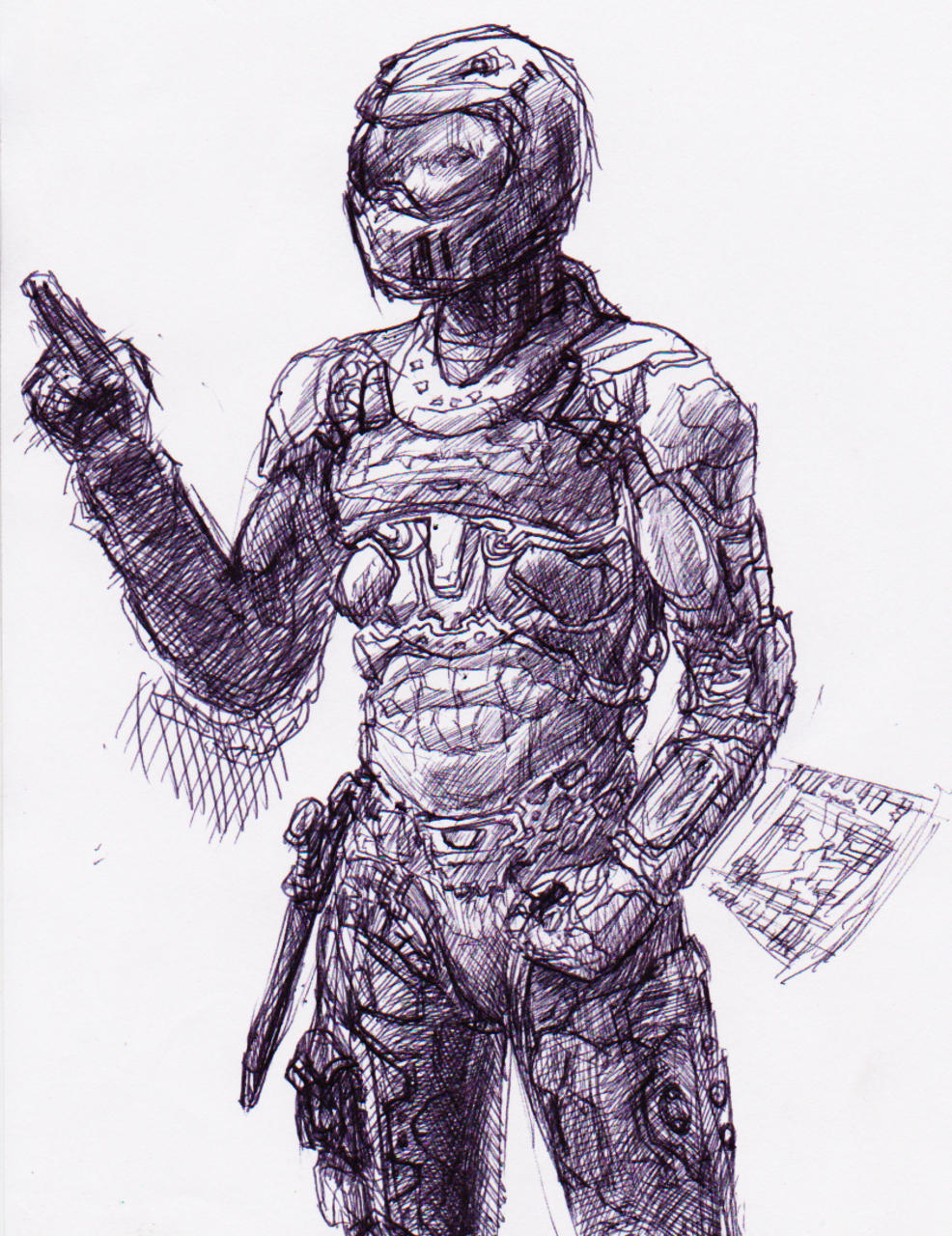 The Expanse inspired Military Space Suit sketch by Darren Kearney
